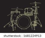 Drum Set Handdrowind In Vector...