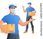 courier delivery service man in ... | Shutterstock .eps vector #1681241599