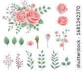hand drawn pink rose leaves... | Shutterstock .eps vector #1681242370