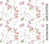 spring sakura  cherry  almond... | Shutterstock . vector #1681245556