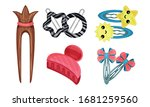 Hair Clips And Clasps Isolated...