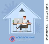 man working from home  stop...   Shutterstock .eps vector #1681264846