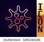 Gold Line Virus Icon Isolated...