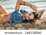 outdoor portrait of a young... | Shutterstock . vector #168128060