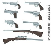 Cartoon Guns, Revolver And Rifles Set/ Illustration of a collection of cartoon silver guns, police and caliber, revolver, pistol and hunting or sniper rifles