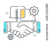 hand shake related color line... | Shutterstock .eps vector #1681316380