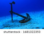 Anchor Of Old Ship Underwater...