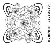 coloring page. doodle flowers... | Shutterstock .eps vector #1681351699