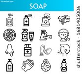 soap line icon set on theme... | Shutterstock .eps vector #1681405006