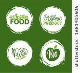 fresh vegan food label  green... | Shutterstock .eps vector #1681405606