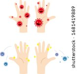hand and virus disinfection...   Shutterstock .eps vector #1681419889