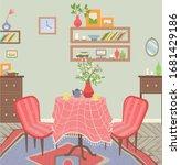 dining room interior  table... | Shutterstock .eps vector #1681429186