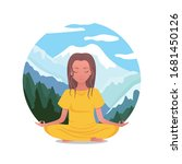 woman meditates and imagines... | Shutterstock .eps vector #1681450126