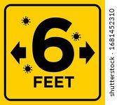 large 6 feet warning sign covid ... | Shutterstock .eps vector #1681452310