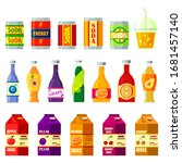 Drinks and juices, bottles, packs flat icons