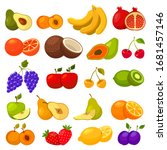fruits flat icons  berries and... | Shutterstock .eps vector #1681457146