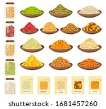 Cereals In Bowls  Rice  Corn ...