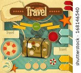 summer vacation card in vintage ... | Shutterstock .eps vector #168146540