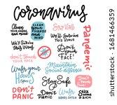 coronavirus hand drawn vector...   Shutterstock .eps vector #1681466359