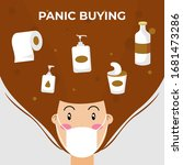 panic buying illustration.... | Shutterstock .eps vector #1681473286