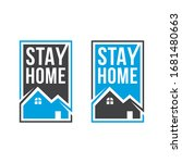 please stay at home. let's stay ... | Shutterstock .eps vector #1681480663