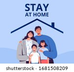 poster urging you to stay home... | Shutterstock .eps vector #1681508209