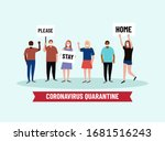 please  stay home. people crowd ... | Shutterstock .eps vector #1681516243