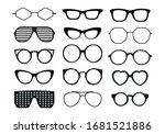 glasses collection. black clip... | Shutterstock .eps vector #1681521886