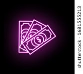 money bills neon icon. simple...