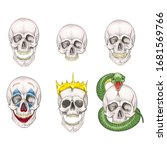 the human skull set isolated on ... | Shutterstock .eps vector #1681569766