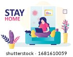 stay home banner template.... | Shutterstock .eps vector #1681610059