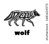 Folk Monochrome Wolf Isolated...