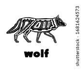 Folk Monochrome Wolf Isolated...