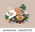cozy scandinavian home interior ...   Shutterstock .eps vector #1681633729