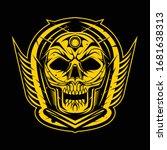 skull design emblem with wings... | Shutterstock .eps vector #1681638313