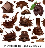 chocolate set. splashes  pieces ... | Shutterstock .eps vector #1681640383