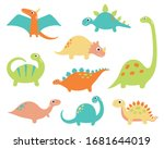 cute vector dinosaurs isolated... | Shutterstock .eps vector #1681644019