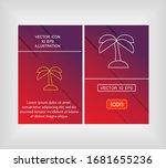 beach  tropical  coconut  leaf  ... | Shutterstock .eps vector #1681655236