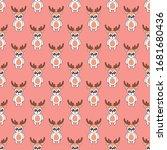 seamless pattern cute deer... | Shutterstock .eps vector #1681680436