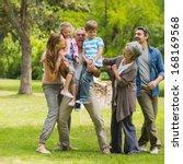 full length of an extended... | Shutterstock . vector #168169568