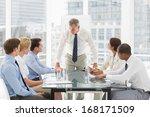 stern businessman looking down...   Shutterstock . vector #168171509
