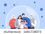 family in medical masks stands... | Shutterstock .eps vector #1681728073
