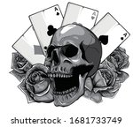 monochromatic aces of poker and ... | Shutterstock .eps vector #1681733749