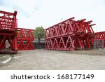 red lattice beams support for... | Shutterstock . vector #168177149