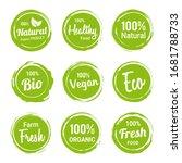 set of green organic labels... | Shutterstock .eps vector #1681788733