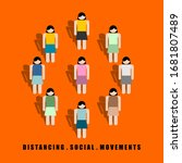 distancing social movement... | Shutterstock .eps vector #1681807489