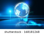 glowing earth with binary code | Shutterstock . vector #168181268