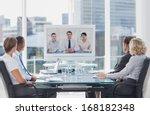 business team having video...   Shutterstock . vector #168182348