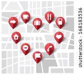 vector illustration of map pins ... | Shutterstock .eps vector #168183536