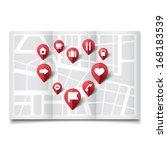 vector illustration of map pins ... | Shutterstock .eps vector #168183539